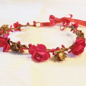 Red and Gold flower head wreath